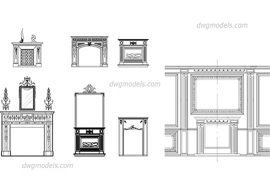 Fireplaces front free dwg model