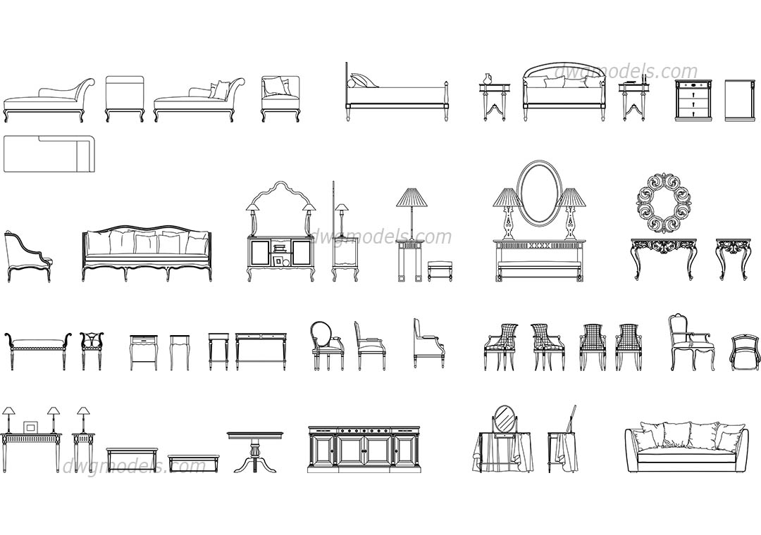 Classic Furniture Set Dwg Free Cad Blocks Download