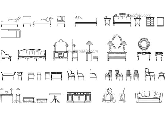 Classic furniture set free dwg model