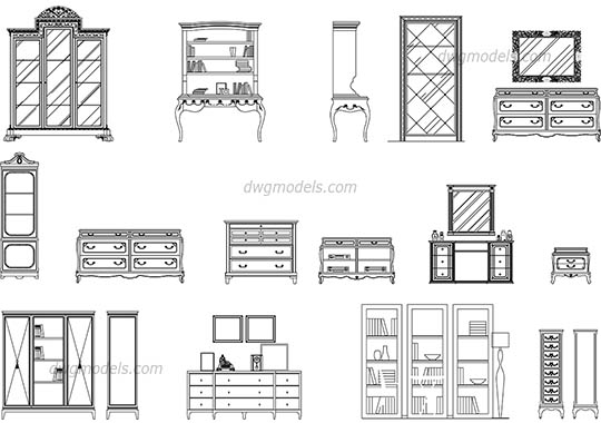 Bookcases and dressers dwg, cad file download free
