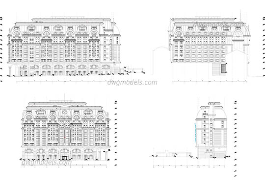 Facades of hotel free dwg model