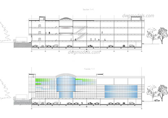 Shopping mall elevation - DWG, CAD Block, drawing.