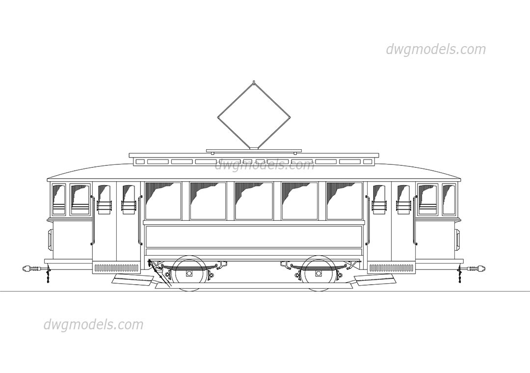 Old tram dwg, CAD Blocks, free download.
