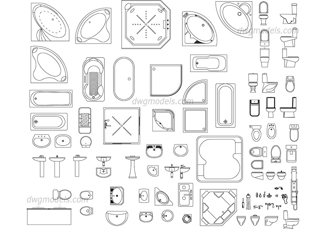Sanitary ware set dwg, CAD Blocks, free download.