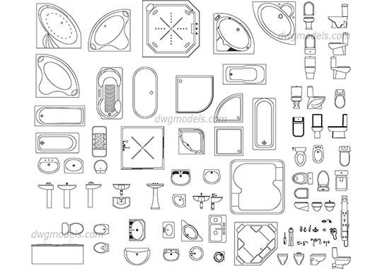 Sanitary ware set dwg, cad file download free