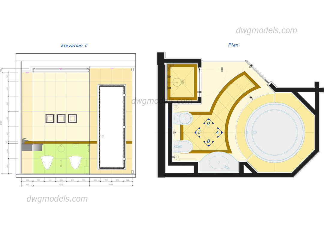 Bathroom in plan dwg, CAD Blocks, free download.