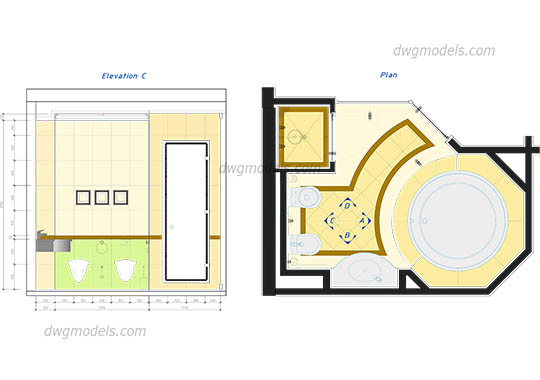Bathroom in plan dwg, cad file download free.