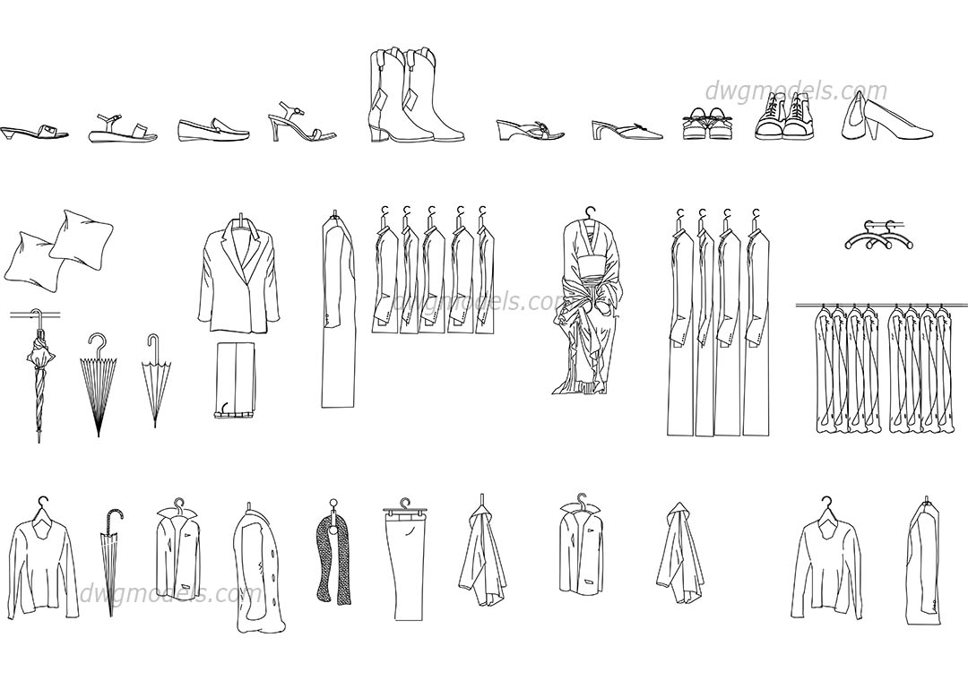 Clothes dwg, CAD Blocks, free download.