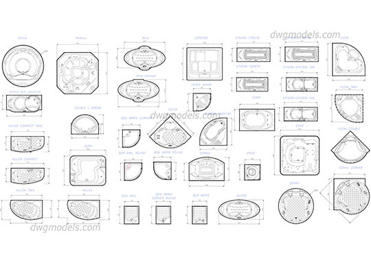 Jacuzzi set dwg, cad file download free