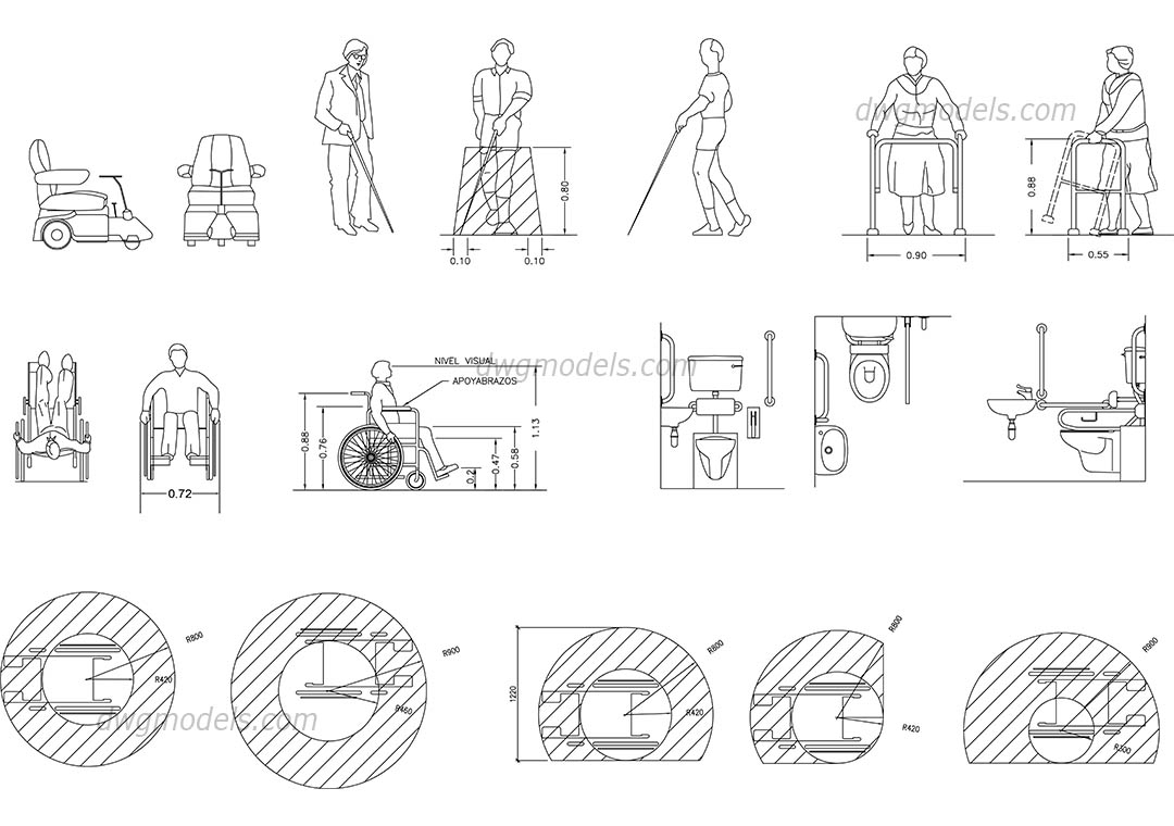 Disabled people dwg, CAD Blocks, free download.