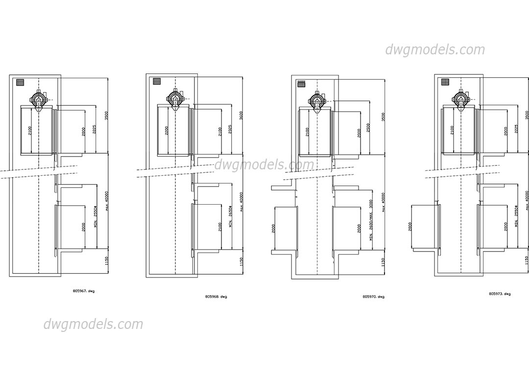 Elevators Kone section cabin dwg, CAD Blocks, free download.