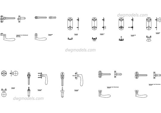 Door fittings FSB dwg, cad file download free