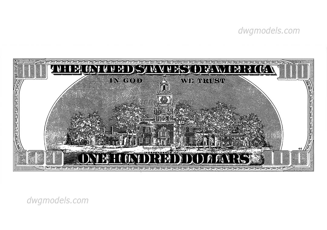 One hundred dollars dwg, CAD Blocks, free download.