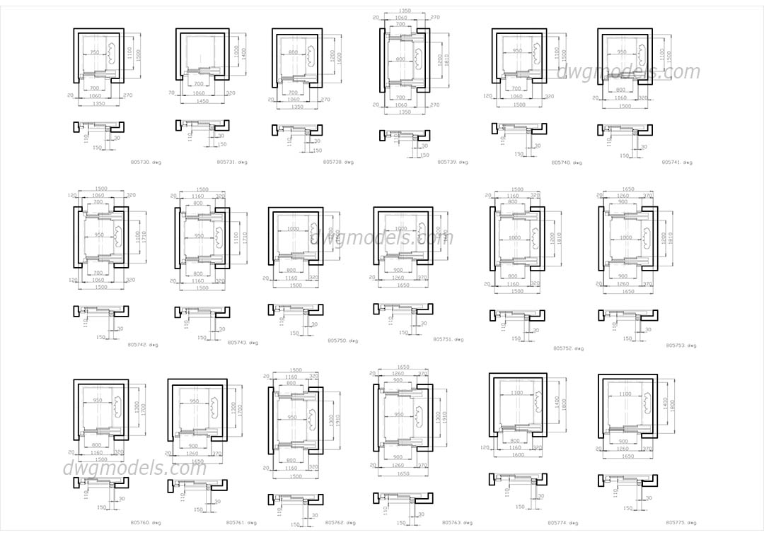 Elevators Kone. Part 1 dwg, CAD Blocks, free download.