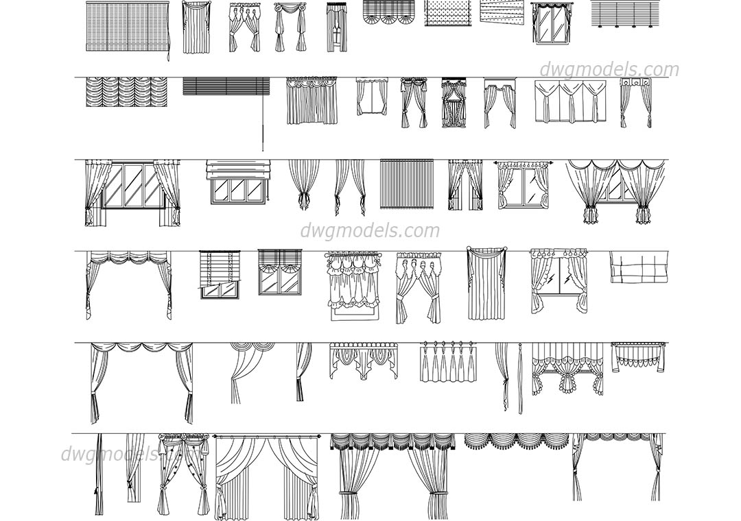 Curtains Set DWG Free CAD Blocks Download