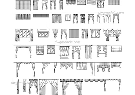 Curtains set dwg, cad file download free