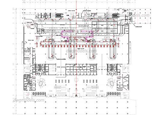 Airport 1 level ground free dwg model