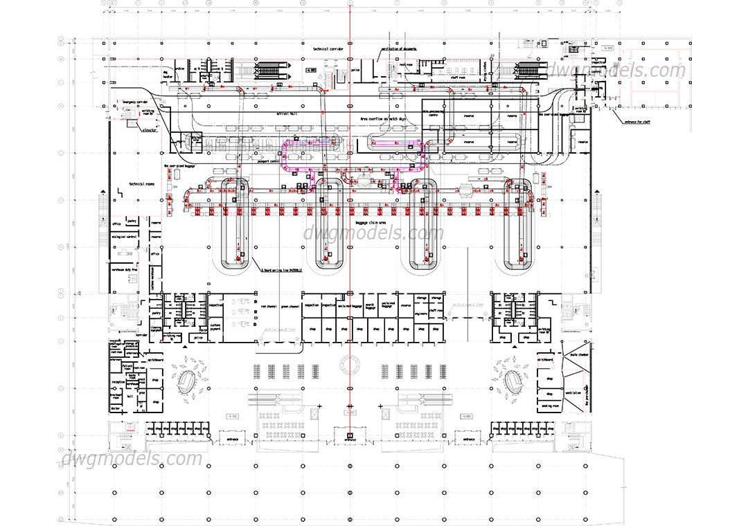 Airport 1 level ground dwg, CAD Blocks, free download.