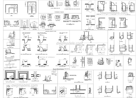 Design standards for disabled people - DWG, CAD Block, drawing.