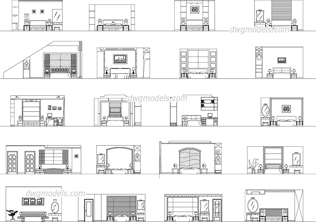 bedroom elevation dwg, free cad blocks download