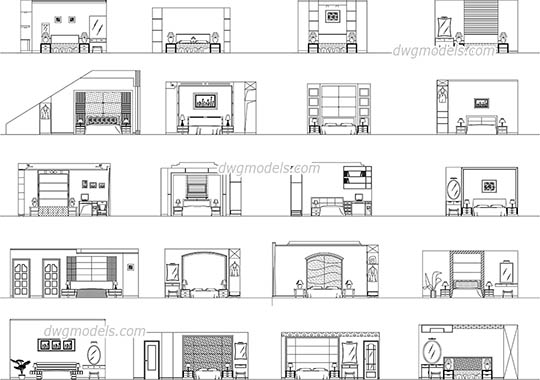 Bedroom elevation dwg, cad file download free