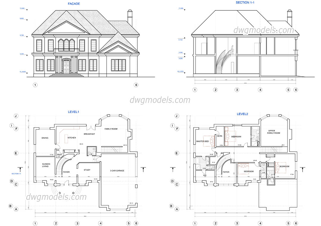 Two story house plans dwg free cad blocks download for Drawing house floor plans
