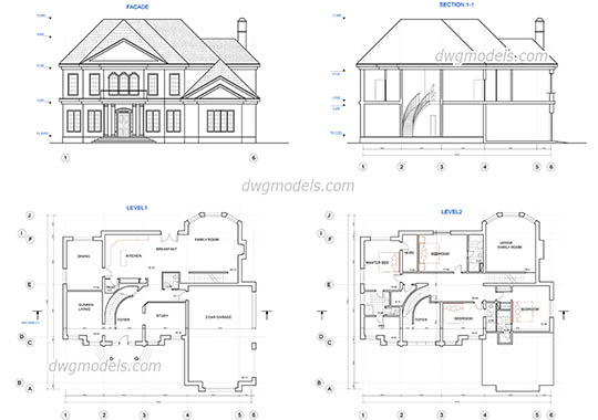 Type of houses dwg models free download for Two story house drawing