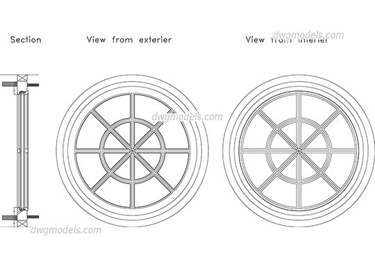 Round window - DWG, CAD Block, drawing