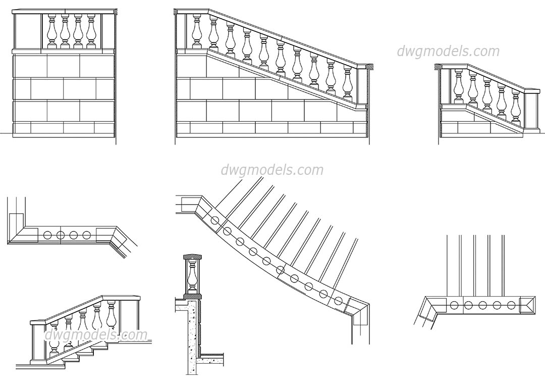 Balustrade dwg, CAD Blocks, free download.