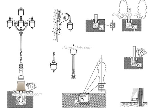 Urban lighting design dwg, cad file download free