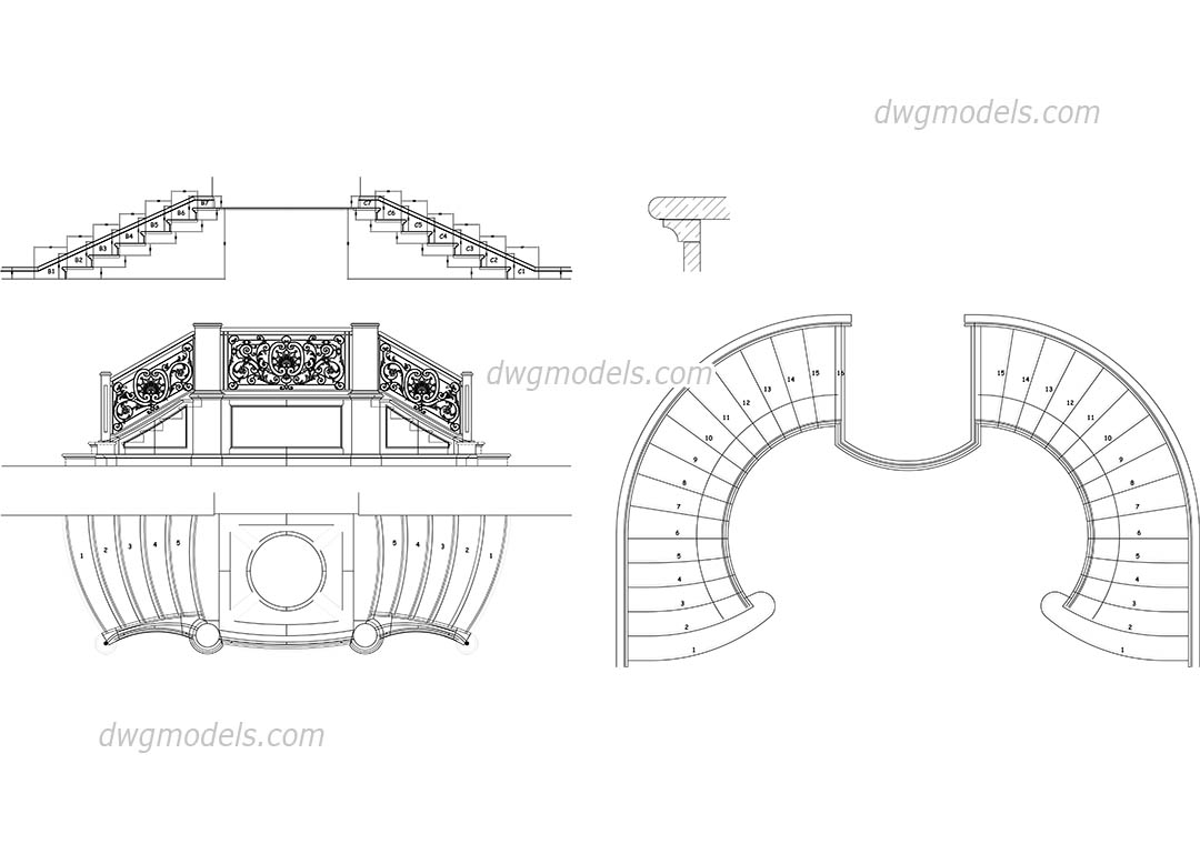 Baroque staircase DWG, free CAD Blocks download