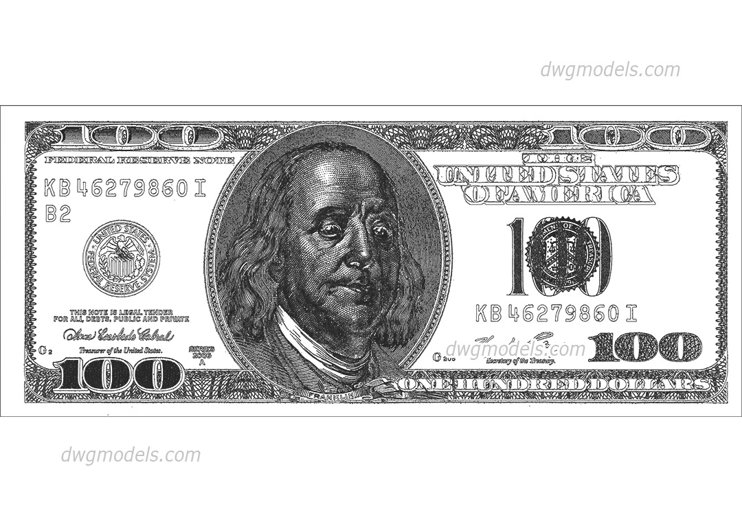 100 dollar bill dwg, CAD Blocks, free download.