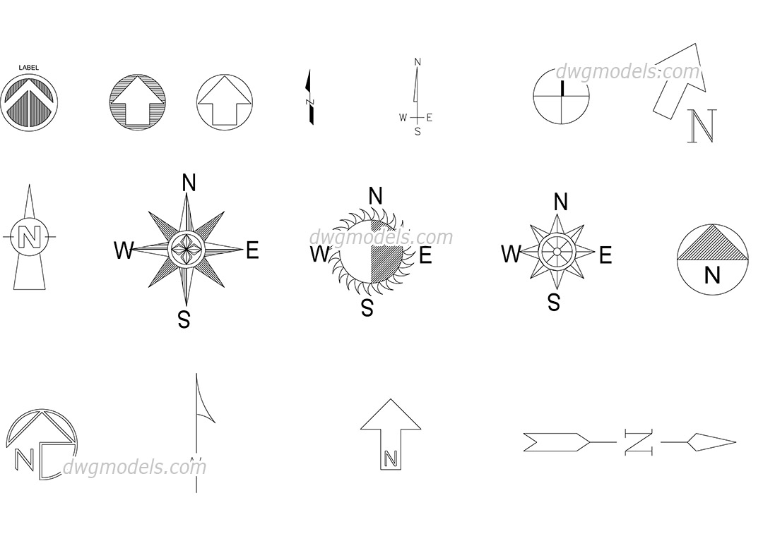 North symbol dwg, CAD Blocks, free download.