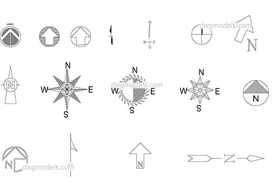 North symbol dwg, cad file download free.