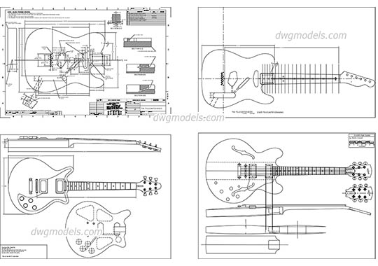 Guitar dwg, cad file download free