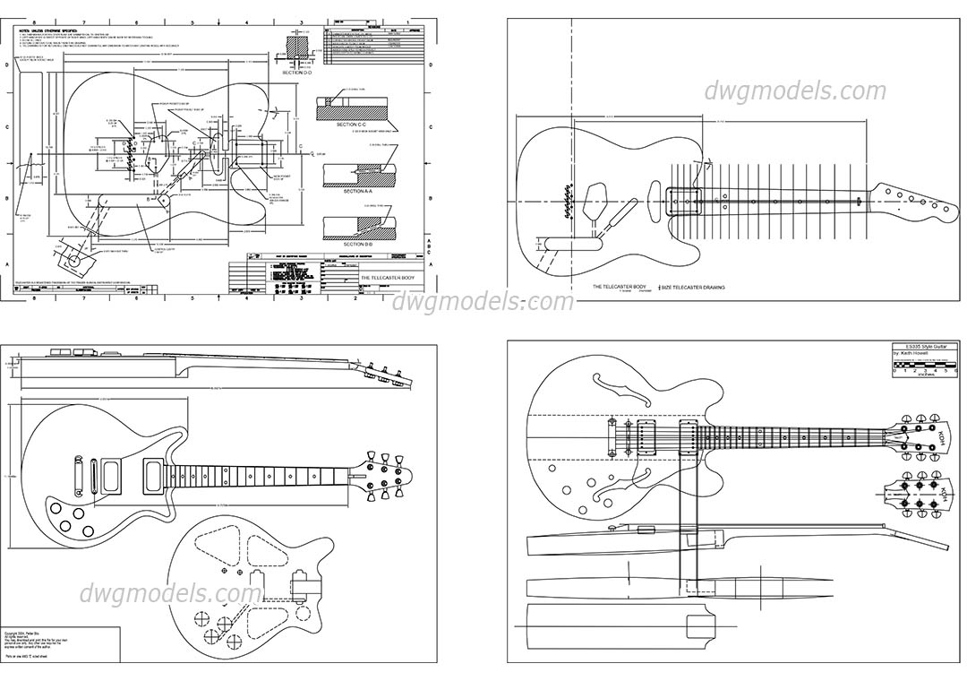 Guitar dwg, CAD Blocks, free download.
