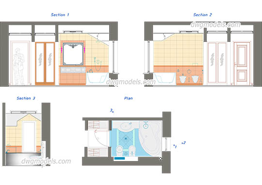 Bathroom elevation dwg, cad file download free.