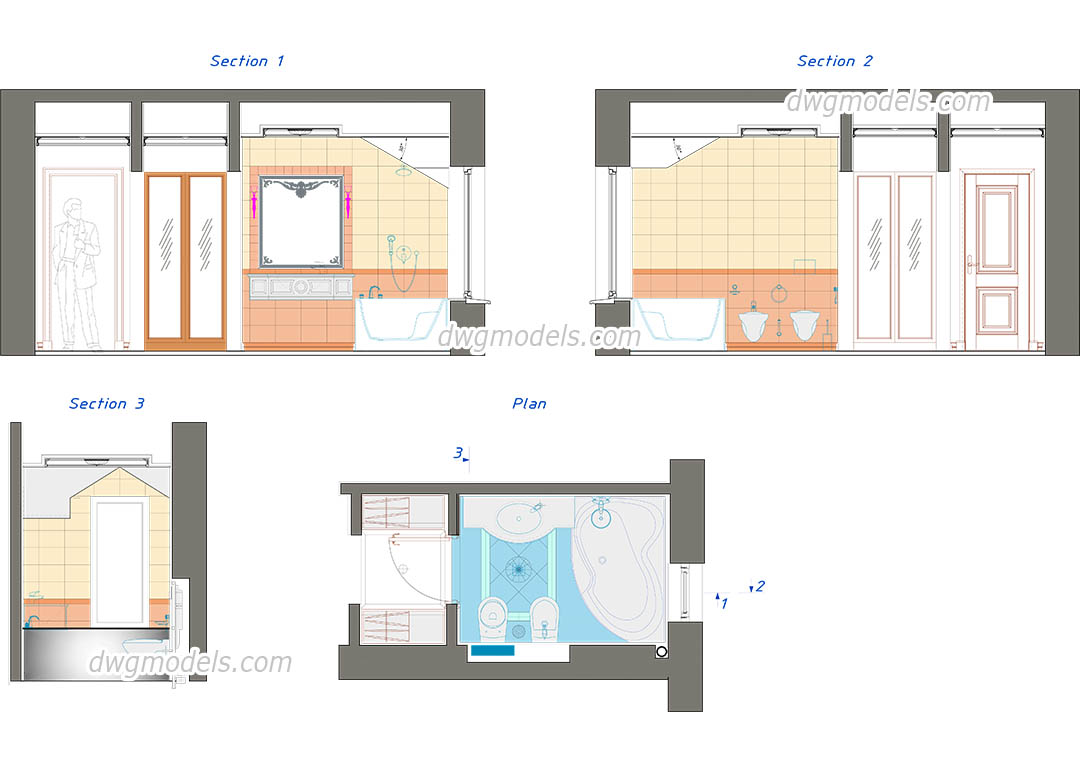 Bathroom plan and elevation dwg cad blocks free download for Bathroom ideas 8x8