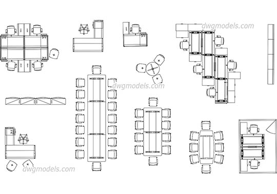 Furniture Knoll for offices dwg, cad file download free.