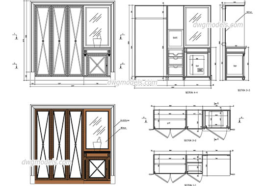 Wardrobe with bar and safe dwg, cad file download free