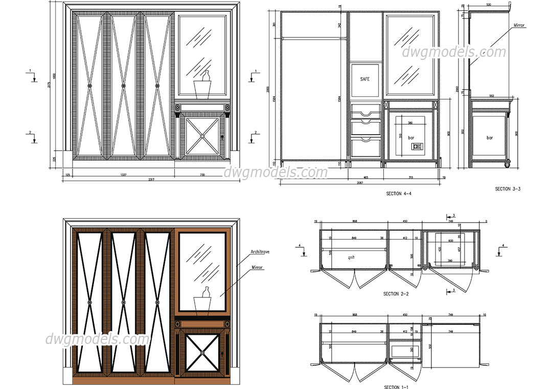 Wardrobe with bar and safe dwg, CAD Blocks, free download.