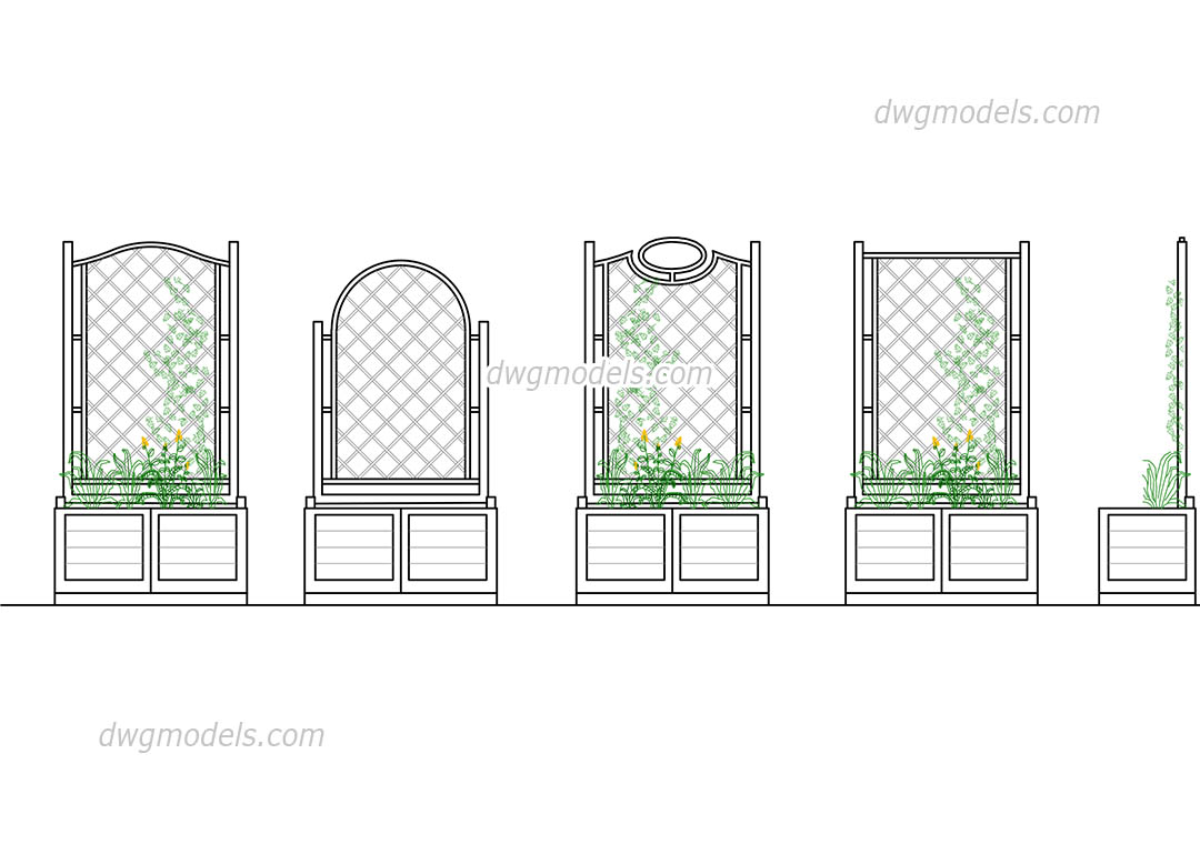 Flower bed and wooden fences dwg free cad blocks download for Bed elevation blocks
