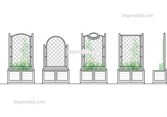 Flower bed and wooden fences dwg, cad file download free.