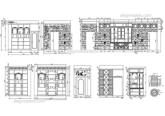 Elevation of wine boutique dwg, cad file download free.