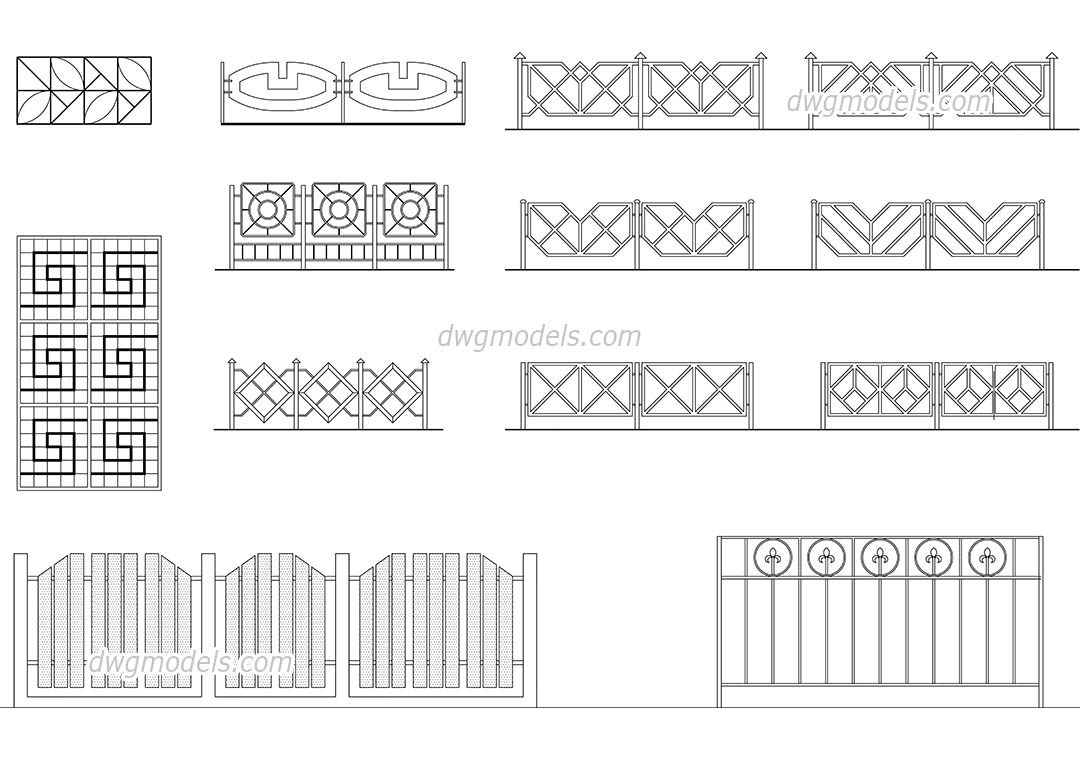 Lattices and fences dwg, CAD Blocks, free download.