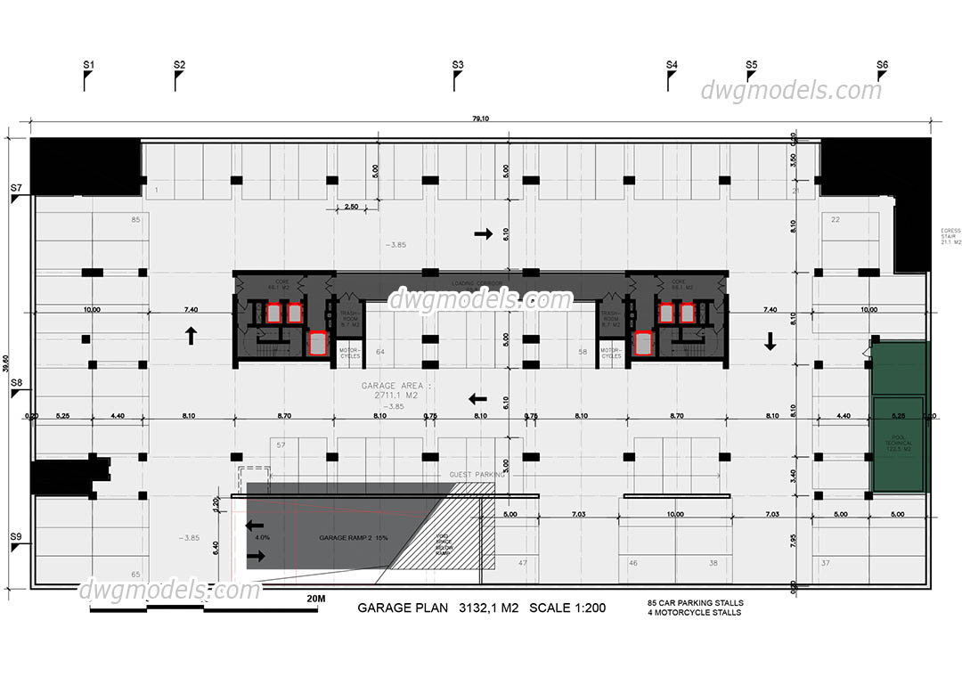 Garage plan dwg, CAD Blocks, free download.