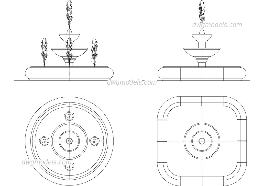 Fountain dwg free cad blocks download
