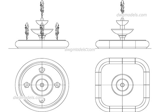Fountain - DWG, CAD Block, drawing.