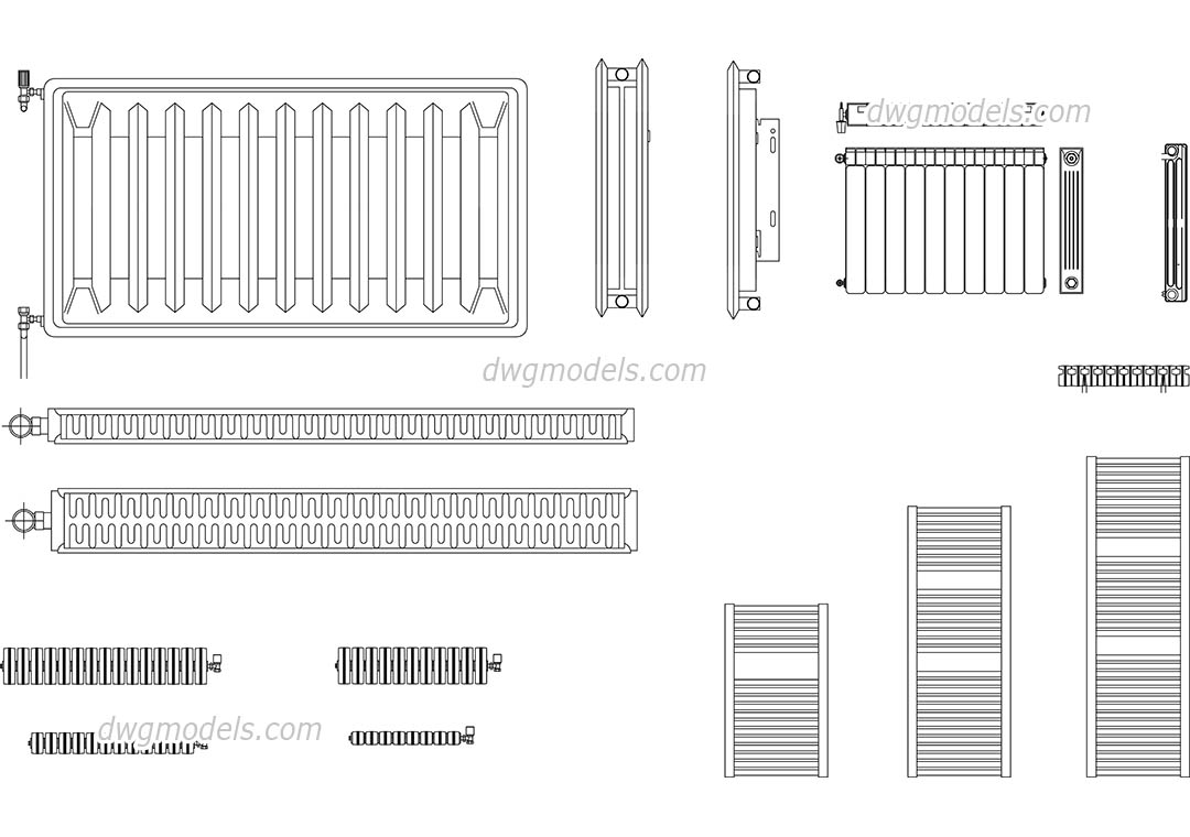 radiators dwg  free cad blocks download