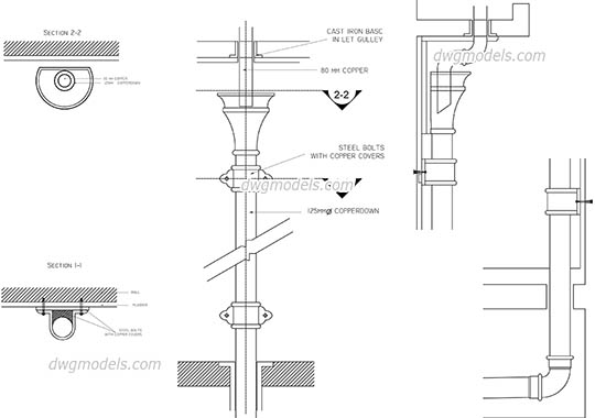 Drainpipe - DWG, CAD Block, drawing.